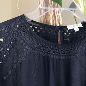 WILFRED eyelet blouse in black
